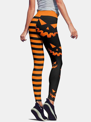 Women Funny Pumpkin Striped Print Sport Pants