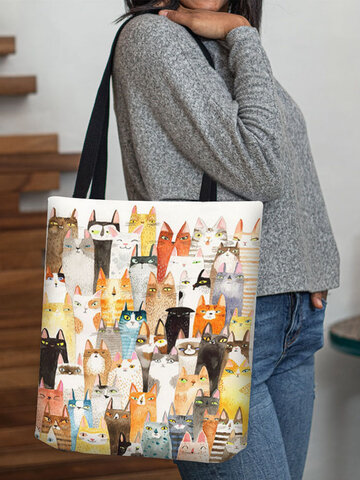 Cotton Linen Cat Print Handbag Tote