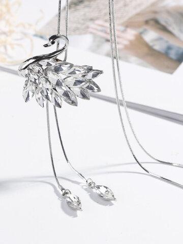 Moda Swan Collares largos de cristal