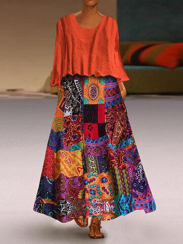 Ethnische Print Maxi Kleid