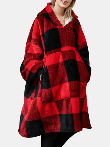 Plaid Wearable Blanket Oversized Hoodie
