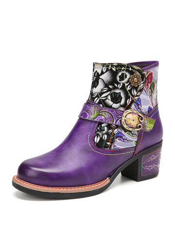 legant Floral Cloth Splicing Leather Ankle Boots