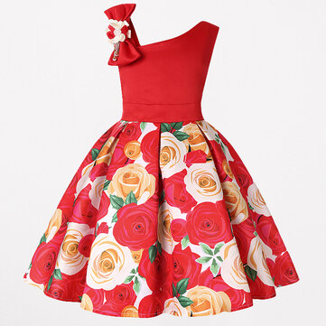 Toddler Christmas Flower Dress for 3-13Y