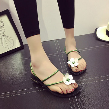 Bohemia Flower Clip Toe Two Way Wearing Slip On Flat Flip Flops Gladiator Sandals