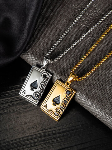 Playing Card Stainless Steel Necklace