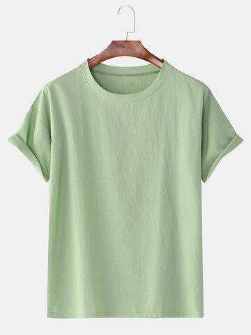 Cotton Linen 8 Colors Solid Round Neck Casual T-Shirt