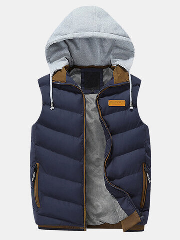 100% Cotton Detachable Hooded Warm Vest