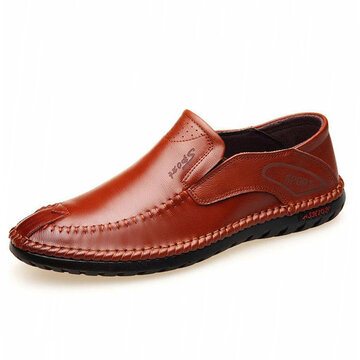 Men Hand Stitching Leather Loafers