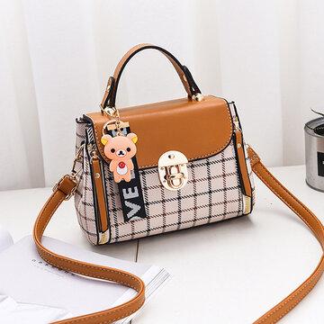 Women Plaid PU Leather Cute Bear Crossbody Bag