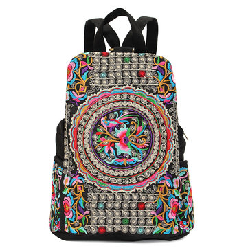 Women National Style Embroidery Zipper Creative Backpack