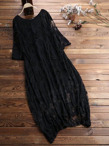 Vintage Lace Hollow Layers Maxi Dress