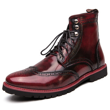 Men Brogue Dress Ankle Boots
