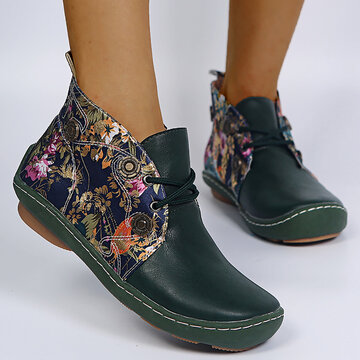 LOSTISY Flowers Pattern Flat Ankle Boots