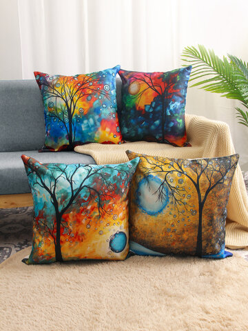 4 Pcs Landscape Oil Painting Colorful Tree Print Pillowcase Throw Pillow Cover Linen Sofa Home Car Cushion Cover