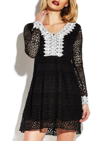 Sexy Lace See-through V-neck Long Sleeve Mini Dress For Women