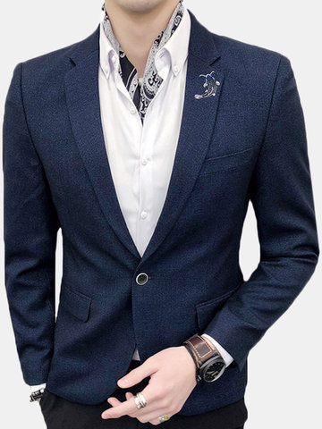 Single Breasted Solid Color Suit, Navy