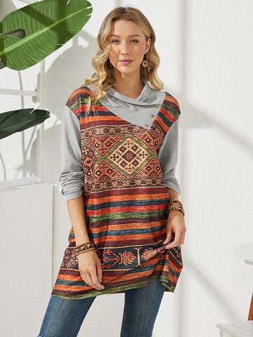 Ethnic Print Patchwork T-shirt