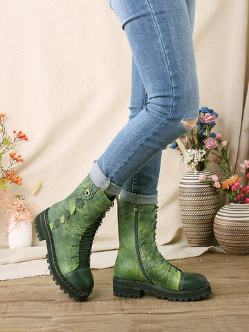 SOCOFY Natural Ginkgo Leaf Print Embossed Leather Short Boots