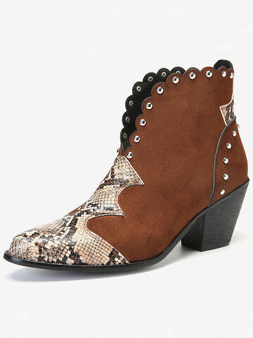 Suede Animal Print Chunky Heel Ankle Boots