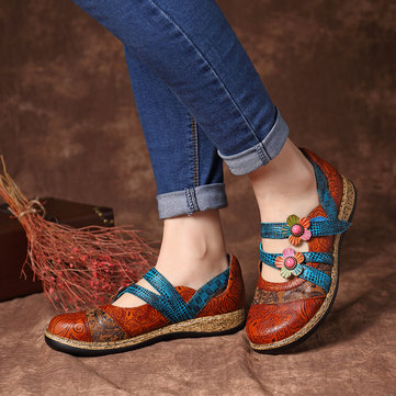 Vintage Leather Floral Flat Shoes