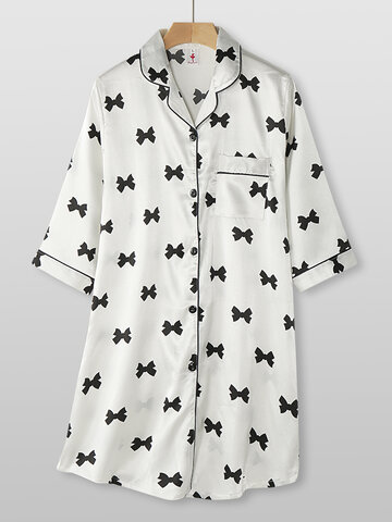 Faux Silk Bow Print Shirt Nightdress