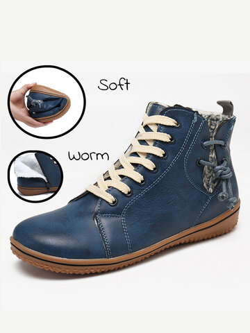 Women Warm Comfy Slip Resistant Flat Ankle Boots