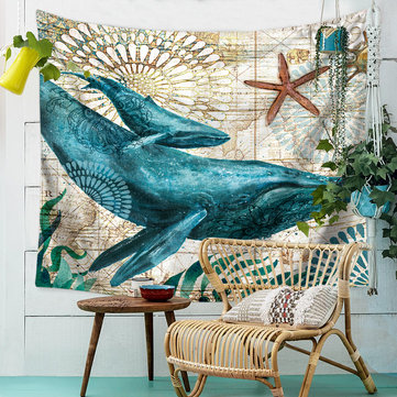 150x200CM Bohemian Blue Whale Wall Tapestry