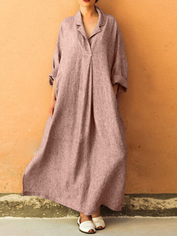 Solid Color Loose Lapel Dress