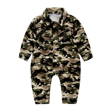 Kids Green Camouflage Romper For 0-24M