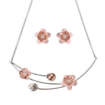 JASSY® Sweet Pink Flower Jewelry Set