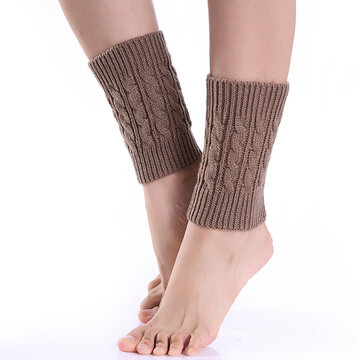 Women Leg Warmers Twist Knitted Knee Short Boot Socks
