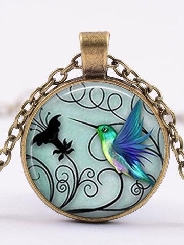 Blue Hummingbird Pendant Necklace