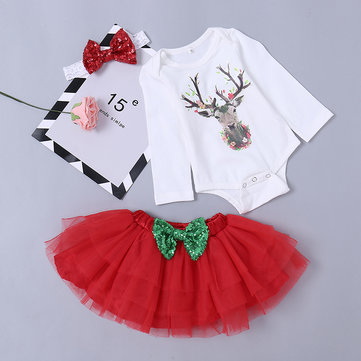 3Pcs Reindeer Pattern Girls Set For 0-24M