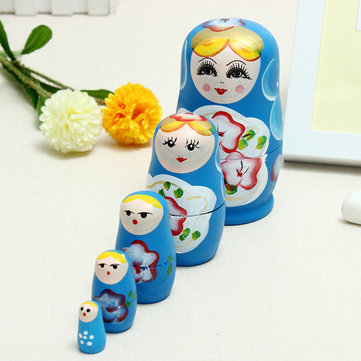 5 Pcs Lovely Russian Wooden Doll Set