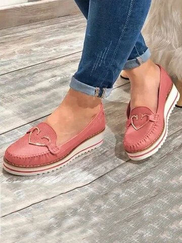 Stitching Non Slip Wedges Loafers