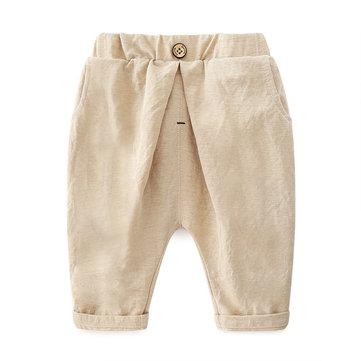 Solid Color Boys Cotton Shorts For 2Y-9Y