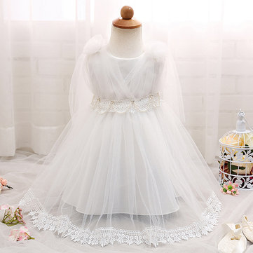 Lace Beading Decor Girl Tulle Dresses For 0-18M