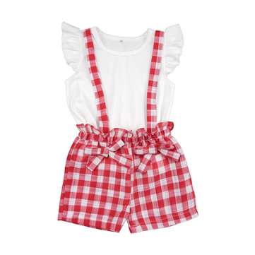 Girls Butterfly Sleeve Plaid Jumpsuit Set For 2-9Y