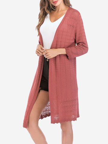 Plaid Solid Color Thin Cardigans