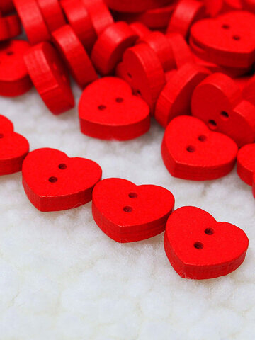 100pcs Wooden Red Heart-shape Sewing Buttons