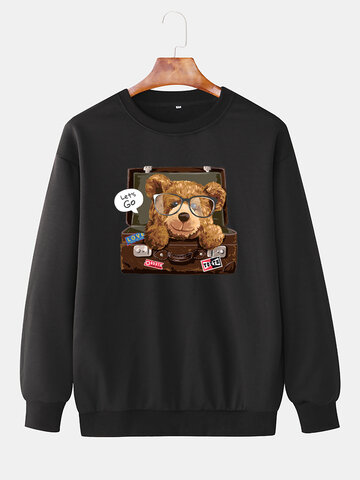Cartoon Bear Box Print Sweatshirt