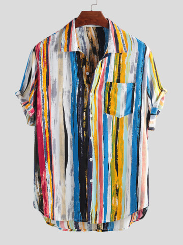 Mens Multi Color Graffiti Chest Pocket Rodada Hem Loose Short Sleeve Shirts