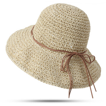 Foldable Sunscreen Anti-UV Bucket Straw Hat