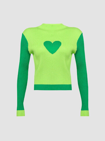 Solid Color Heart Patchwork O-neck Long Sleeve Casual Sweater