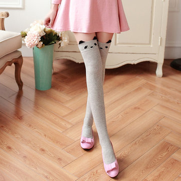 Mujer Girls Kawaii Cartoon Animal Cotton Stocking Over Kneed High Tight calcetines