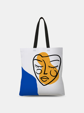 Blue Abstract Figures Pattern Tote
