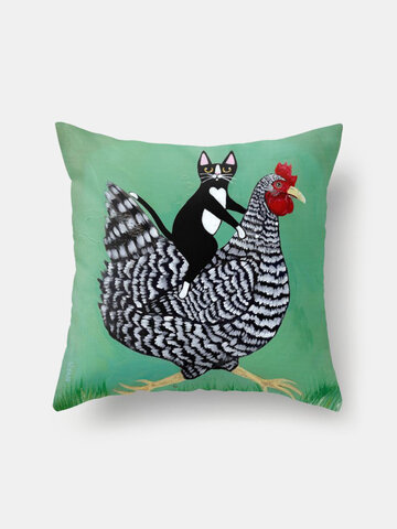 Black Cat And Fowl Pattern Linen Cushion Cover Home Sofa Art Decor Throw Pillowcase
