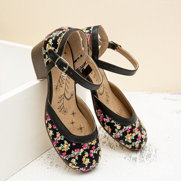 Flowers Closed Toe Buckle Strap Chunky Heels