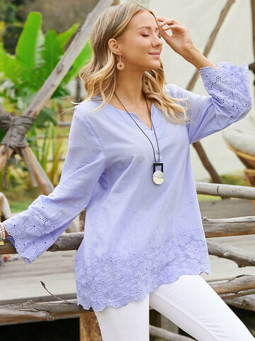 Plain Floral Embroidered Casual Blouse