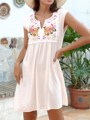 Blumenstickerei Ärmellos Kleid